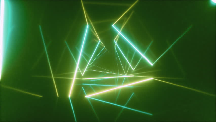 Abstract flying in futuristic corridor with triangles, seamless loop 4k background, fluorescent ultraviolet light, colorful laser neon lines, geometric endless tunnel, blue green spectrum, 3d render | Shutterstock HD Video #1027099391