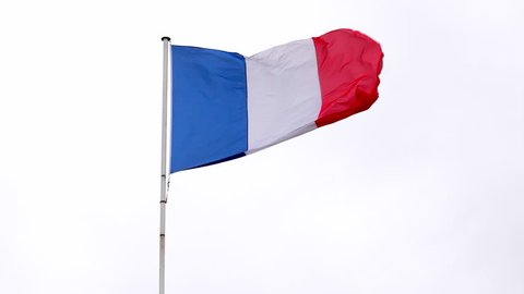 Real French Flag in Slow Motion with white background