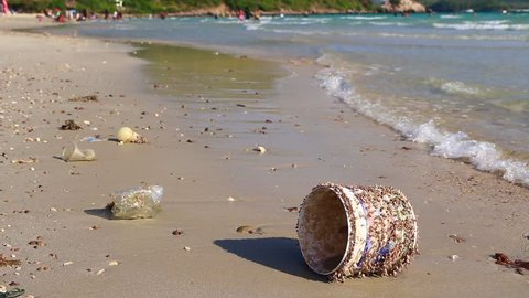 Plastic bottle garbage with clams at wave motion time HD