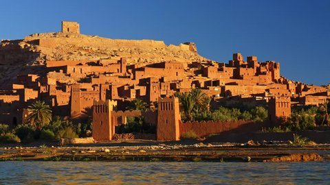 Ait Ben Haddou, Morocco during a bright sunny day. Fortified village (ighrem, ksar) on the former caravan route between Marrakesh and Sahara desert