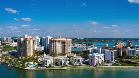 Aerial Hyperlapse / Timelapse of Downtown Sarasota, Florida and Sarasota Bay