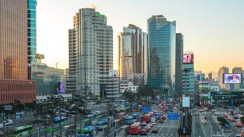 Seoul, South Korea - December 12, 2017: Seoul city traffic road with cityscape skyline in Seoul, South Korea time lapse
