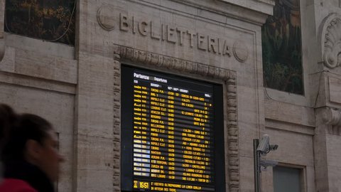 MILAN, ITALY - circa 2019: Central railway station in Milan, Italy. Every day about 320,000 passengers pass through the station, for an annual total of 120 million passengers.