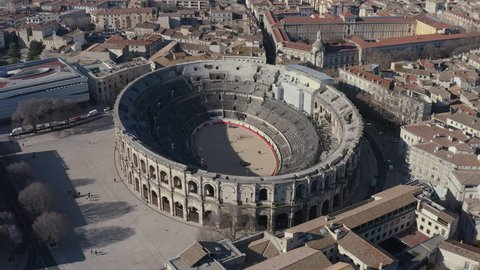 Beautiful aerial view of the Arena of Nîmes large oval open-air venues Roman amphitheatre