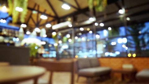 Blurred bokeh of cafe shop colorful background.
