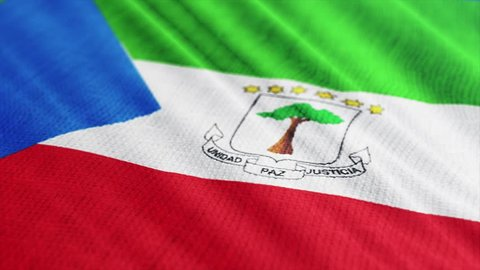 Equatorial Guinea flag is waving 3D illustration. Symbol of Equatorial Guinean national on fabric cloth 3D rendering in full perspective.