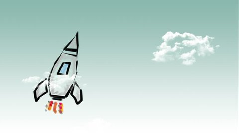 Rocket launch, ship. Concept of business product on a market. Green background