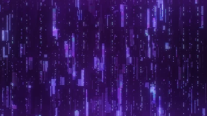 The abstract high-tech digital background represents big data analysis. Flying upwards along the bright purple flickering pixels combined into matrices randomly spaced over a dark background. | Shutterstock HD Video #1027493201