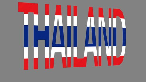 """The animated letters of the word """"Thailand"""" in national colors are fluttering like a flag in the wind. This clip has an additional alpha matte that allows to get the background transparent."""