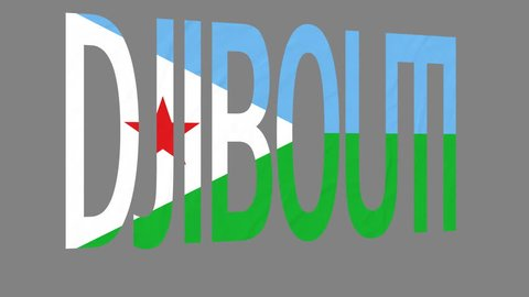 """The animated letters of the word """"Djibouti"""" in national colors are fluttering like a flag in the wind. This clip has an additional alpha matte that allows to get the background transparent."""