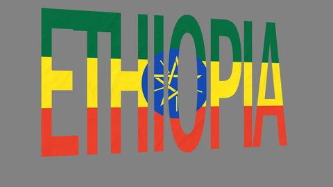"""The animated letters of the word """"Ethiopia"""" in national colors are fluttering like a flag in the wind. This clip has an additional alpha matte that allows to get the background transparent."""