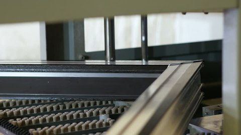 Production of pvc windows. Manufacturing of plastic windows, production. Cleaning of welds on plastic window