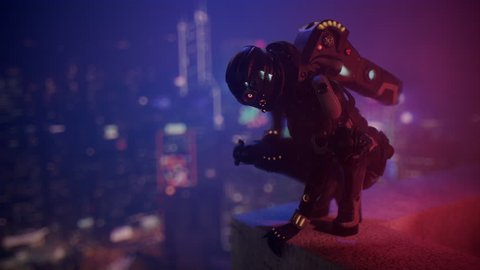 Science fiction cyborg female squatting on the edge of the roof. Sci-fi girl sitting on her haunches and turns her head looking at the night city. Girl in a futuristic black armor suit. 3D animation.