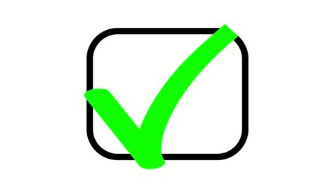 Animation drawing a green check in a black checkbox on white background.