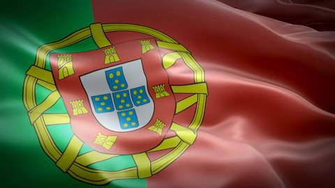 Portuguese flag waving in wind video footage Full HD. Realistic Portuguese Flag background. Portugal Flag Looping Closeup 1080p Full HD 1920X1080 footage. Portugal EU European country flags Full HD