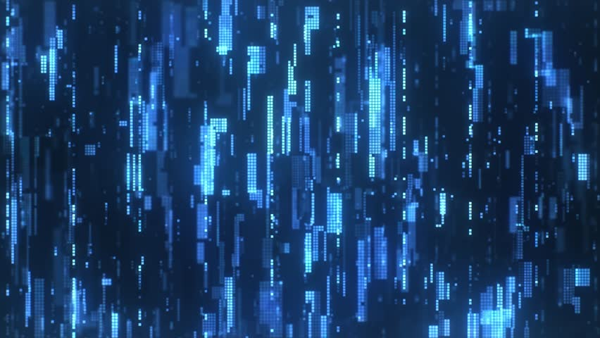 The abstract high-tech digital background represents machine learning. The bright blue flickering pixels combined into matrices randomly spaced over a dark background. | Shutterstock HD Video #1027652591