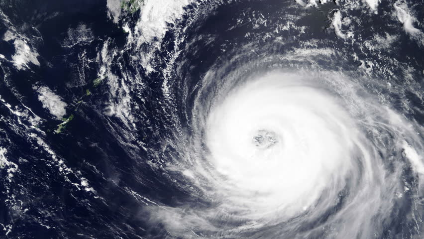 Typhoon spiral rotating satellite view on ocean sea. Contains public domain image by Nasa | Shutterstock HD Video #1027682321