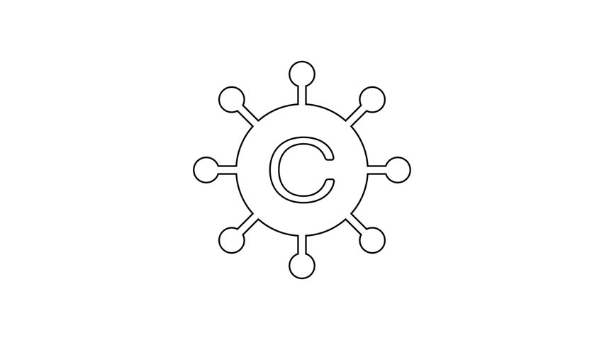 Grey Copywriting network line icon on white background. Content networking symbol. Copyright sign. Copywriting network sign. 4K Video motion graphic animation