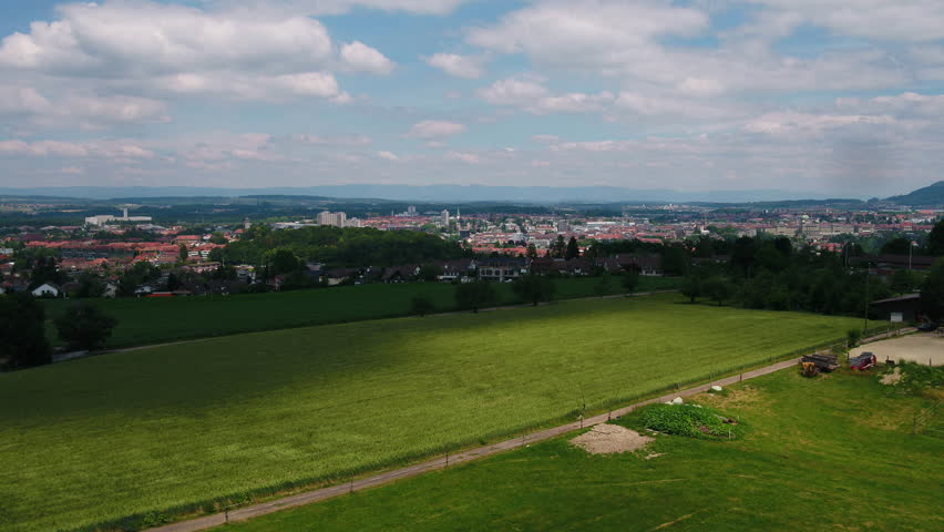 Aerial Switzerland Bern June 2018 Sunny Day 30mm 4K Inspire 2 Prores  Aerial video of downtown Bern in Switzerland on a beautiful sunny day.   Shutterstock HD Video #1027724021