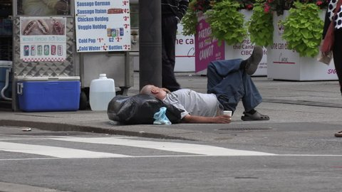 Toronto, Ontario, Canada April 2019 Homeless Person the Streets Of Wealthy Financial District