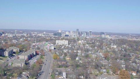 Aerial View Nashville Suburbs, City Skyline Background.