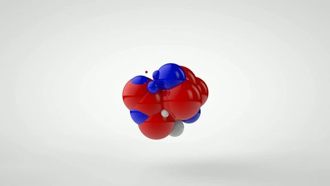3D animation of explosion of a set of balls of red, blue and white color. Chaotic motion.