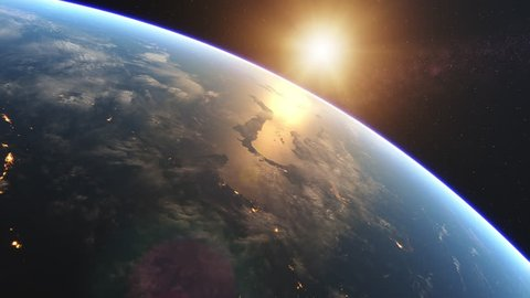 4K Beautiful Sunrise over Earth. Realistic earth with night lights from space. High quality 3d animation. Elements of this image furnished by NASA.