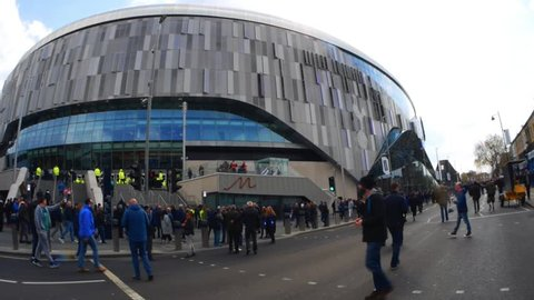 London, UK - April 13 2019: panoramic view, with peoples, outside the new Tottenham Hotspur's in north London