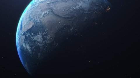 Planet Earth at night and day from the space. Time lapse of the rotation and city lights. Space exploration.