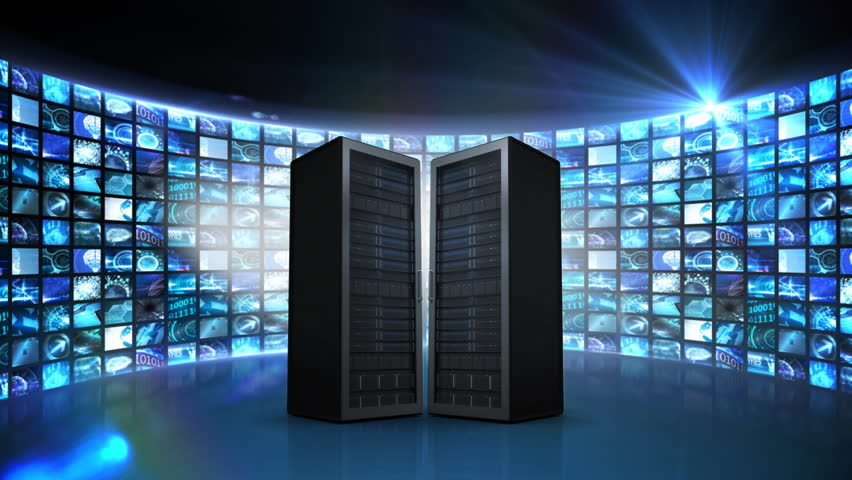 Digital animation of two server towers moving apart to reveal an illustration of cloud storage networking with multiple screens in the background