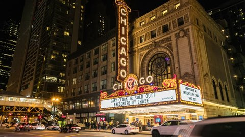 Chicago, Illinois, USA - March 16 2019 : Chicago Theater located on North State Street in the Loop area of Chicago at night on March 16, 2019, USA.