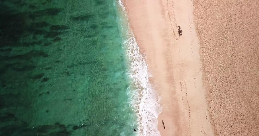 Aerial: Panning Along Green Ocean & Sandy Beach with Beachgoers in Oahu, Hawaii | Shutterstock HD Video #1027879361