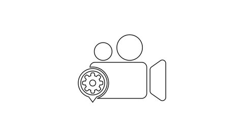 Grey Movie or Video camera and gear line icon on white background. Adjusting app, service concept, setting options, maintenance, repair, fixing. 4K Video motion graphic animation