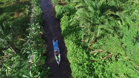 boat and shortcut river, mentawai island, west sumatra, indonesia