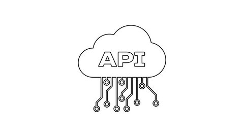 Grey cloud api interface line icon on white background  application  programming interface api technology  software integration  4k video motion  graphic animation