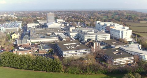 Wide aerial view of Basildon University Hospital A&E, Nethermayne, Essex, UK
