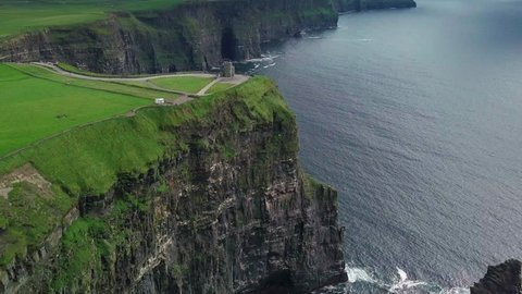 Aerial drone footage in 4k of the Cliffs of Moher in Ireland. Featuring a flight around O'Brien's tower.