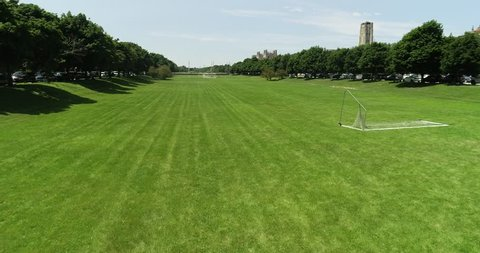 Chicago, Illinois/USA - August 15, 2018: Scenic aerial view of The University of Chicago's campus and the Midway Plaisance.