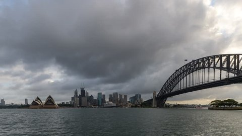 Sydney, New South Wales, Australia - 03-09-2019 - Sydney Harbour from Waterhouse Reserve Day to Night time lapse