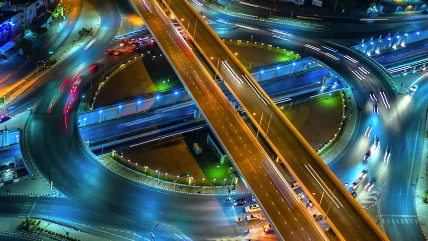 4K,Time lapse night  traffic of the expressway, motorway and highway in the detail of Circle intersection    Shutterstock HD Video #1028005871