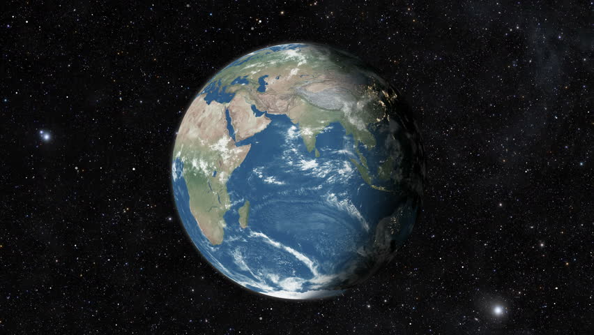 Planet earth from space. Realistic world globe spinning slowly animation. Camera over Indian Ocean, Africa, Central America. | Shutterstock HD Video #1028017271