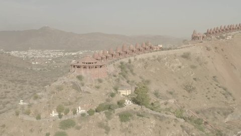 Mountain Jain temple, Ajmer, India, 4k aerial drone ungraded/flat raw