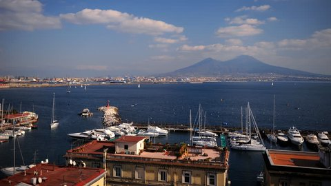 Time Lapse Aerial View of Naples City Skyline with Yachts in Porto Santa Lucia