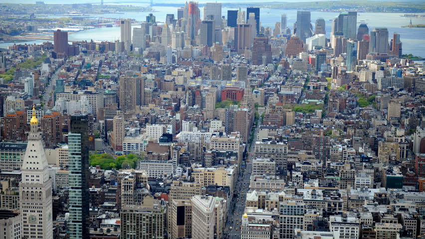 Time Lapse Aerial View of New York City Skyline Car Traffic on Busy Fifth Avenue | Shutterstock HD Video #1028115611
