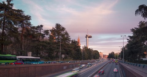 Sunset in Moncloa, Madrid. Highway and faro de Moncloa during sunset.