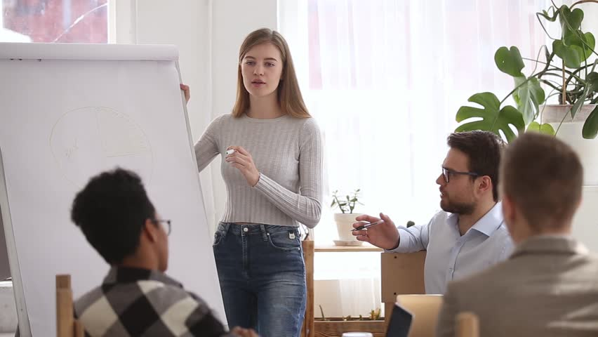 Woman team leader reporting about quarter work shows diagram sales results use flip chart, business coach give presentation for trainees, education mentoring, client and company representative concept