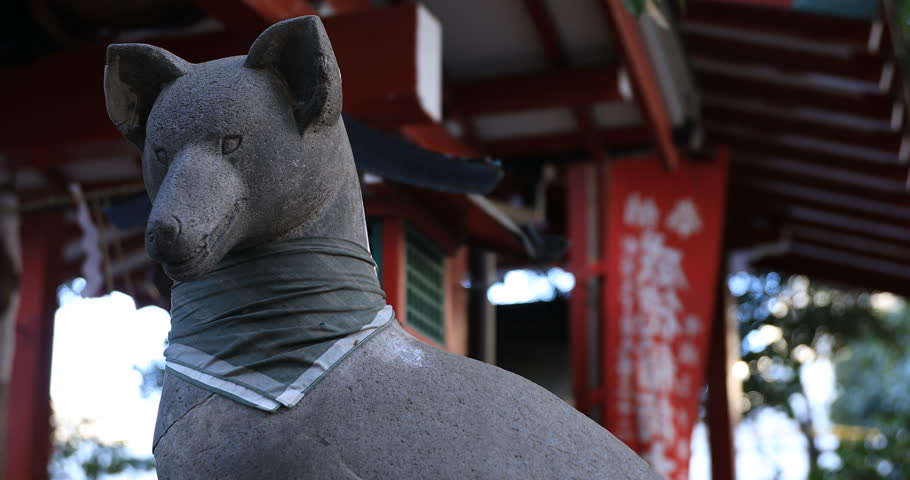 Statue guardian dog at the traditional shrine. Shinjuku district Tokyo Japan - 01.21.2019 : It is an old statue at the traditional shrine. camera : Canon EOS 5D mark4 | Shutterstock HD Video #1028153231