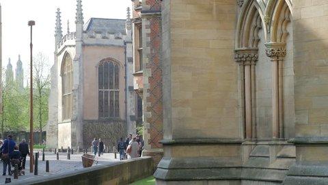 Cambridge, England - April 2019. Street scene. John's College looking towards Trinity College Chapel, University of Cambridge, St Johns Street, Cambridge, Cambridgeshire, England, United Kingdom