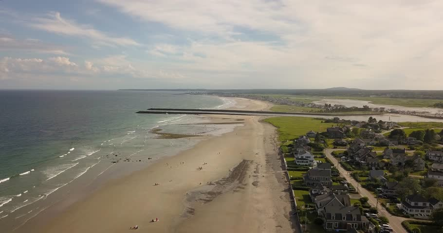 Aerial view: a summer's day over the Maine coastline | Shutterstock HD Video #1028203811