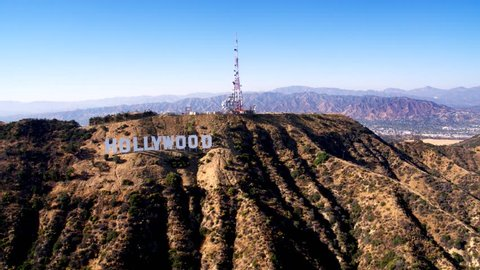 Los Angeles, CA / USA - July 3, 2016: Aerial Drone View of the Hollywood Sign, Hollywood Hills, Runyon Canyon, Los Angeles